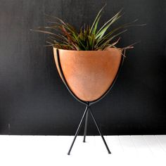 Mid Century Bullet Planter - Kimball Company - Fiberglass Planter - Atomic Era - Mid Century Garden - Burnt Orange and Black Colors on Etsy, $225.00