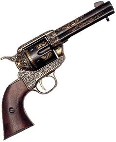 Replica 1873 Peacemaker - Golden Engraved Non Firing Replica Gun