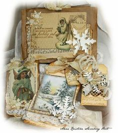 Vintage Style  Christmas Cards and Tags...distressed & inked.