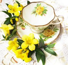 Royal Albert Cup and Saucer Tea Rose Yellow by LoveCareHandmade