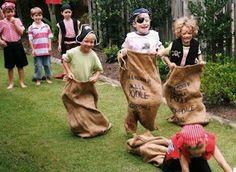 Burlap sack race for a backyard pirate party. Fun!