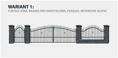 Ogrodzenie klasyczne Majorka w wariancie z bramą dwuskrzydłową i betonowymi słupkami.