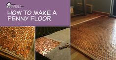 Step by Step Instructions for installing your DIY floor made from real pennies. Download the penny floor template and follow along to create this unique copper penny floor, backsplash, tabletop, or other work of art for your home!