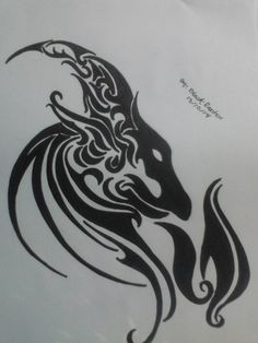 1006e677e tribal tattoo capricorn by cheshiremalice fan art traditional art ... Capricorn  Tattoo, Zodiac