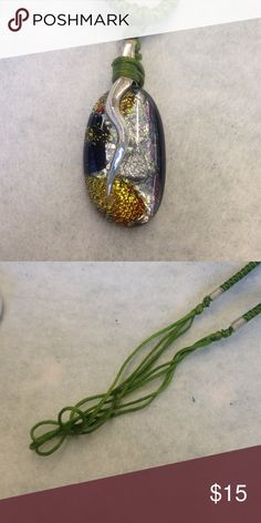 Dichroic glass pendant green Dichroic glass pendant on green satin cord.  Adjustable length. Jewelry Necklaces