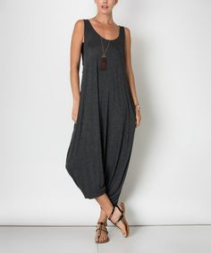 Charcoal Sleeveless Jumpsuit #zulily #zulilyfinds