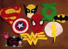 superhero  felt logos for capes and tutu by JeminisCreation. , via Etsy.