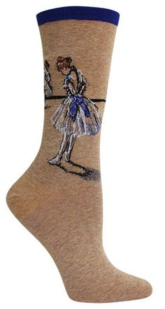 Degas' The Dance Studio depicts a pastel study of dancers and their graceful movements. Crew length socks featuring the famous study by Edgar Degas (c. 1878), The Dance Studio - available in Blue & Pink. Fits women's shoe size 5-10.