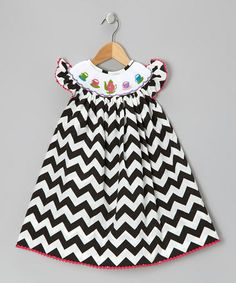 Take a look at this Black Zigzag Smocked Dress - Infant, Toddler & Girls by Silly Stitches on #zulily today!