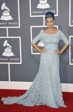 Katy Perry wears Elie Saab on the red carpet of the 2012 Grammy Awards..