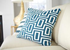 Teal and Ivory Maze Pillow