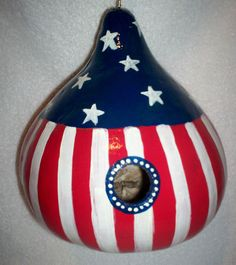 Patriotic, USA, Red, White, BLue Flag Hand Painted Gourd Birdhouse Garden Art