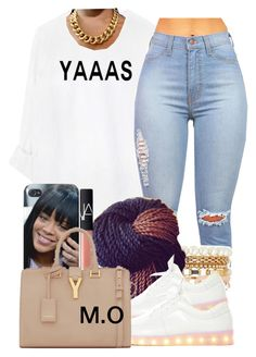 """It's this one person who stay copying my sets . So unoriginal . If u copy atleast give credit "" by renipooh ❤ liked on Polyvore featuring Charlotte Russe, NARS Cosmetics, Yves Saint Laurent, women's clothing, women's fashion, women, female, woman, misses and juniors"
