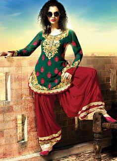 green georgette designer pakistani patiala suit