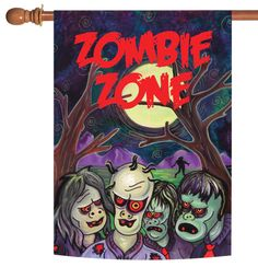 NEW Toland - Zombie Zone - Spooky Halloween Living Dead Ghoul House Flag #TolandHomeGarden