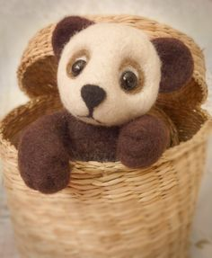 Panda Artist Teddy Bear Thread Jointed Miniature Needle Felted OOAK Collectors Item Handmade UK Merino Wool Glass Eyes on Etsy, $70.31
