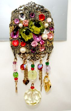 Long Dangling Sparkly Brooch by SokolProjectsVintage on Etsy, $18.00