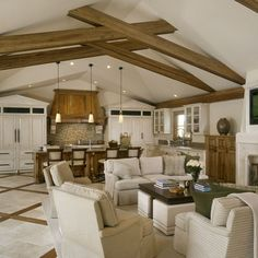 Family Room dealing with low ceilings Design Ideas, Pictures, Remodel and Decor dig the beams
