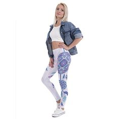 493973f027cd9 ZODP Women's Leggings Mandala Feathers Printing Sexy Slim Stretch Leggings,# Leggings, #Mandala, #ZODP, #Women