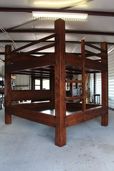 custom bunk bed king over king unstained | king bunk beds
