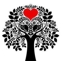 Búhos en la tarjeta del día de San Valentín de árbol
