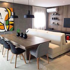 """161 curtidas, 4 comentários - OPPA VITÓRIA (@rachelfmedeiros) no Instagram: """"Estar e jantar integrados - unidos e separados pelo sofá que atende os dois ambientes. Projeto…"""""""