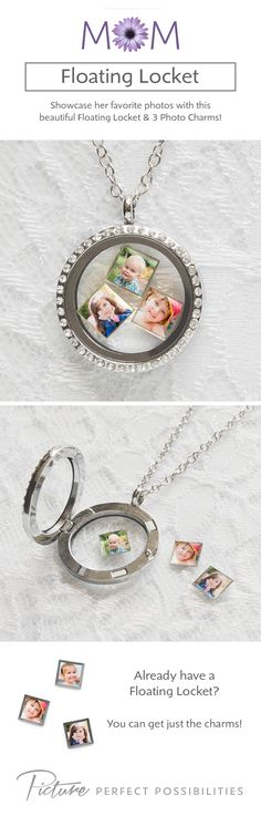 Mother's Day is May 10th! Customize a Floating Locket with her favorite photos. #MothersDay