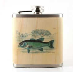 Sportsman Fisher gift Flask- real wood wrapped metal flask - unique gift sportsman - fish