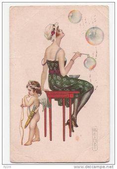 superbe CP Illustrateur signé COLOMBO   femme faisant des bulles + ange