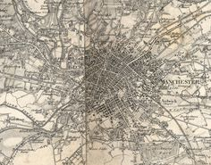 1843 Ordnance Survey map of Manchester #map #manchester