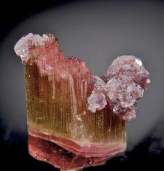 Gem grade Elbaite with dozens of fibrous terminations with beautiful purple Lepidolite from Himalaya Mine, California