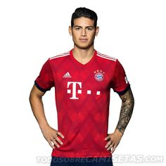 FC Bayern Shirt Home with outstanding details is a must-have for true Bayern supporters. Order now at the Official FC Bayern Munich Store James Rodriguez, Football Soccer, Football Players, Fc Bayern Munich, Football Fashion, Zinedine Zidane, European Football, Adidas, Sport