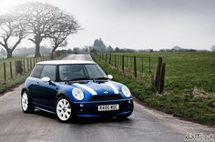 blue white mini cooper   BMW Mini Cooper In Blue With White Stripes A Storm Is Brewing   Flickr ...