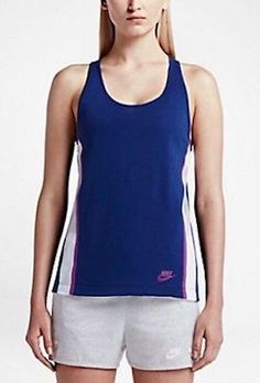 NWT $50 Nike Bonded Tank Top Blue Pink SizeM 726023 Mesh Sport Racerback
