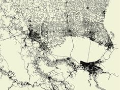 Amazing Maps of Every Road in the US | Louisiana has a patchy network of roads because of its bodies of water.  Fathom  | WIRED.com