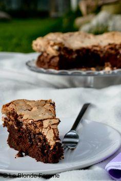 Torta al cioccolato con meringa di nocciole tostate e cioccolato