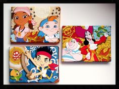 Jake And The Neverland Pirates Set of 3 Canvas Pictures Bedroom Girls Boys