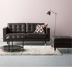 IKEA LANDSKRONA Lädersoffa I Svart. Black SofaLeather ...