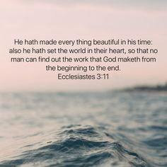 He hath made every thing beautiful in his time: also he hath set the world in their heart, so that no man can find out the work that God maketh from the beginning to the end. Bible Verses Quotes Inspirational, Godly Quotes, Biblical Quotes, Scripture Quotes, Religious Quotes, Jesus Art, Jesus Christ, Life Skills Kids, Really Good Quotes