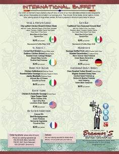 2012 Catering Menu - International Buffet | Branmor's American Grill