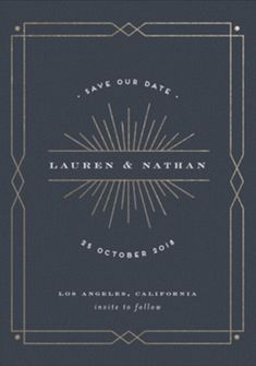 """Vintage Glam"" - Vintage Foil-pressed Save The Date Cards in Navy by Shirley Lin Schneider. Graphisches Design, Art Deco Design, Book Design, Art Deco Invitations, Invitation Design, Graphic Pattern, Art Deco Logo, Art Deco Typography, Deco Font"