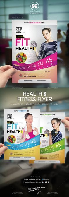 Health & Fitness Flyer / Magazine Ads by shamcanggih Flyer templates designed exclusively for beauty, health, spa, gym, medical, corporate, sales or any of use. Fully editable, image/