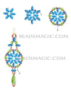 Free pattern for earrings Elvira - 2. U need: twin seed beads faceted beads 4-5 mm seed beads 11/0