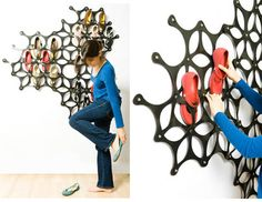 Why should shoe storage be boring?! Dual purpose as coat rack? As creative as shoe storage gets!