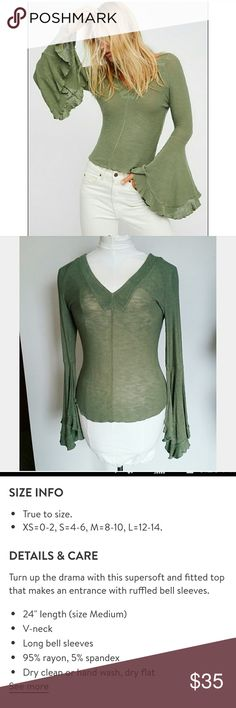 """Free People Soo Dramatic Bell Sleeve Top in Army Nwt! This intimately free people Soo Dramatic  Bell sleeve top is 95% rayon 5% spandex. Very soft stretchy knit material. Army green. Dramatic Bell sleeve. * Approximate measurments laid flat * Underarm to underarm 17"""", front neck to hem length 15"""". Back neck to hem 24"""", Sleeve length 21.5"""". Free People Tops"""