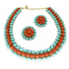 VINTAGE 1950S CROWN TRIFARI BLUE & CORAL GLASS CABOCHON NECKLACE & EARRINGS SET   Clarice Jewellery
