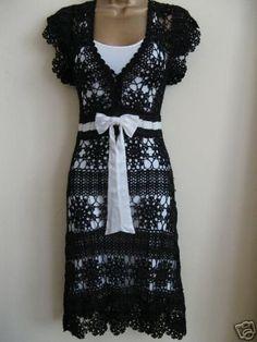 Absolutely beautiful – Hooked on crochet: Vestido preto de crochê / Black Crochet Dress