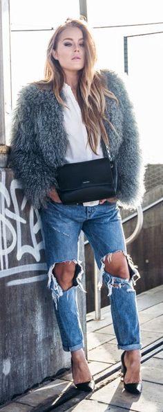 Grey Faux Fur Outfit Idea by Angelica Blick