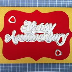 DIY Anniversary Card for my hubby!  Supplies purchased at Michaels.  Red and gold card stock paper, anniversary Joliee sticker set, and red background made with Storybook Cricut cartridge