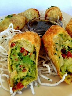 The Cheesecake Factory!!! Avacado egg rolls...yummy...had these the other night and they were awesome!!!